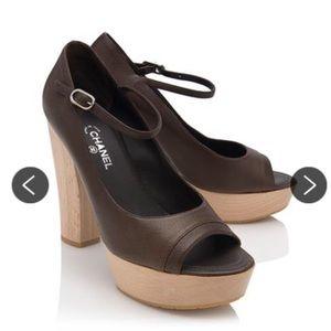 Chanel wooden platform heels brown 40 US 9